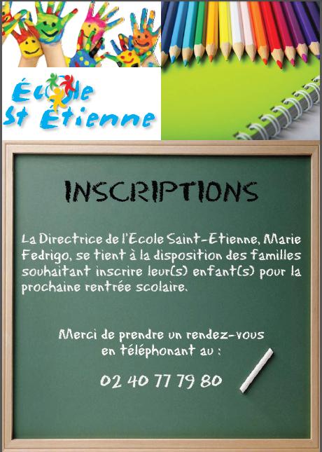 La directrice de l'Ecole Saint-Etienne à Sucé Sur Erdre, Marie Fredrigo, se tient à la disposition des familles souhaitant insrire leur(s) enfant(s) pour la prochaine rentrée scolaire. Merci de prendre un rendez-vous en téléphonant au : 02 40 77 79 80